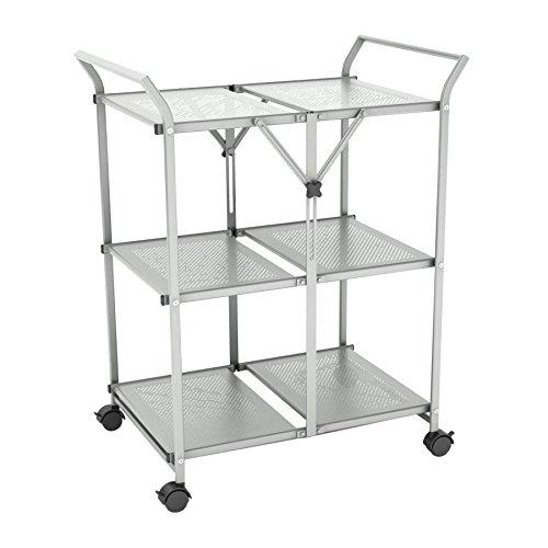 Dar 3-Shelf Folding Cart with Handle, Moon Mist
