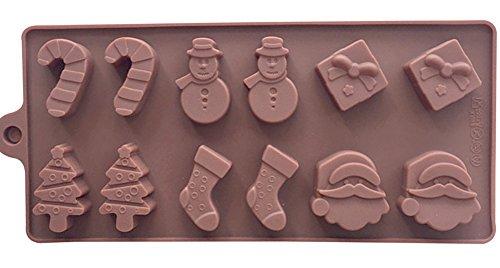 Silicon Kitchen Cookware Cookie Cake Mold Christmas Tree Santa Claus Snowman Socks Cupcake Christmas Gift (Christmas)