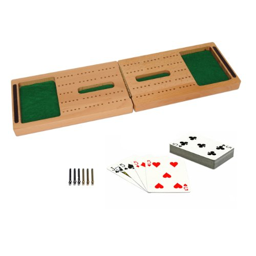 WE Games Travel Cribbage Set - Solid Wood Folding 2 Track Full-size Board with Storage for Cards and Metal Pegs