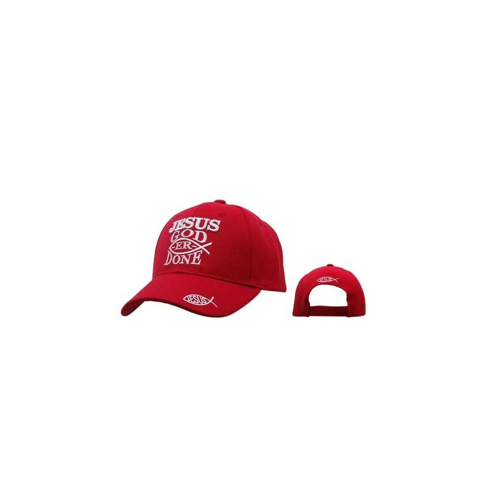 JESUS GOD ER DONE Red Christian Baseball Cap/ Hat