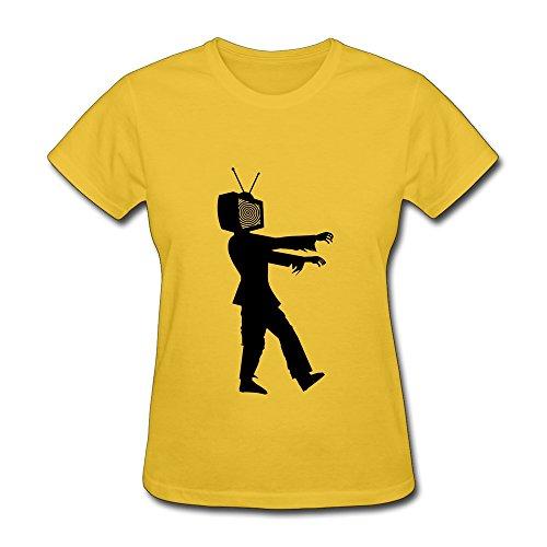 Nasy Women'S Zombie Tv Watcher Cotton Short Sleeve T Shirt S Gold