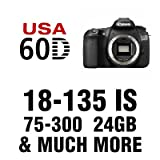 Canon EOS 60D Digital SLR Camera 5 Lens Kit with 18-135mm IS, 75-300mm, 50mm, 52mm 2X Telephoto, 52mm Wide Angle, 24 GB and More