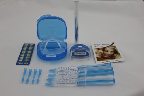 "Home Teeth Whitening Kit - Results In 7 Days Or Less 100% Guaranteed- 2 Moldable Mouth Trays, 4 Syringes With Dentist Recommended 35% Peroxide, Mouth Guard Case, Shading Guide And Bonus ""Night Time"" Pen. Safe For Cavity Fillings, Capped Teeth And Even Cro"