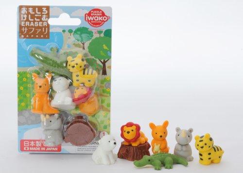 Safari Animals Iwako erasers set 8 pieces from Japan