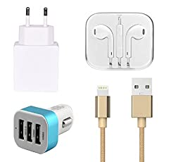 High Quality 2.0 Amp USB Charger, Golden USB Cable, 3.5mm Jack Handsfree, 3 Jack USB Car Charger Compatible With Apple iPhone 5