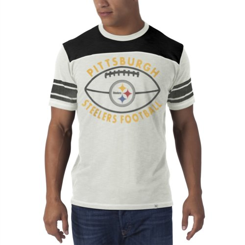 Nfl Pittsburgh Steelers Men'S Top Gun Tee, Small, White Wash front-1014058