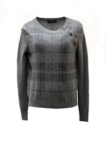 weekend-maxmara-womens-glen-plaid-cubano-sweater-sz-m-grey-green-130792mm