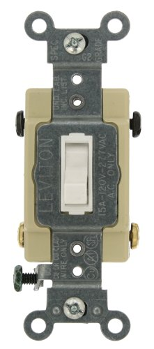 Leviton 54504-2W 15-Amp, 120/277-Volt, Toggle Framed 4-Way AC Quiet Switch, Commercial Grade, Grounding, White