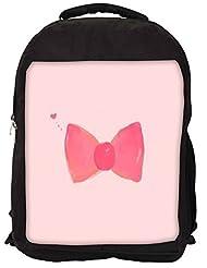 Snoogg Hand Drawn Pink Bow Backpack Rucksack School Travel Unisex Casual Canvas Bag Bookbag Satchel