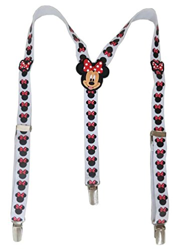 Disney Minnie Mouse Bowtique Girl's White and Black Suspenders Size 3+ [5011]