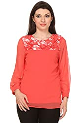 Oyshi Women's Embellished Top (CL1006S, Coral, Small)
