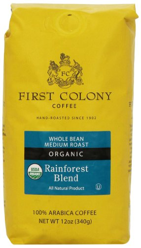First Colony Organic Whole Bean Coffee, Rainforest Blend, 12-Ounce Package