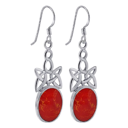 EMES071 Sterling Silver 11mm x 14mm Oval Simulated Coral Inlay with Celtic Knot Design French Ear Wire Dangle Earrings