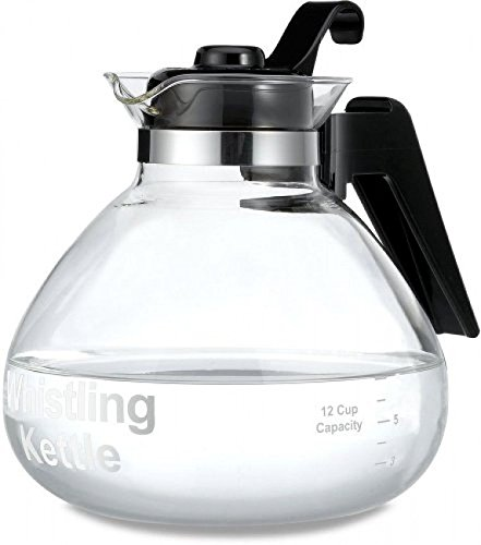 Medelco 12-cup Glass Stovetop Whistling Kettle, New