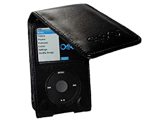 CHIP-i - 160GB iPod Classic PU Leather Flip Case - Black - For Apple iPod Video Classic