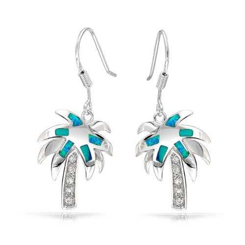 Bling Jewelry CZ Blue Opal Inlay Tropical Palm Tree Dangle Earrings 925 Sterling