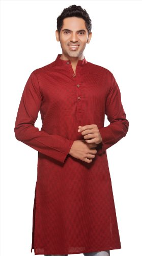 Indian Clothing Men's Long Kurta Tunic Banded Collar Solid Color Shirt