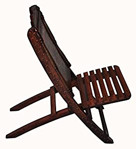 Indian Handicraft Hand Carved Royal Camel Riding Painted Folding Wooden Chairs from Rajasthali