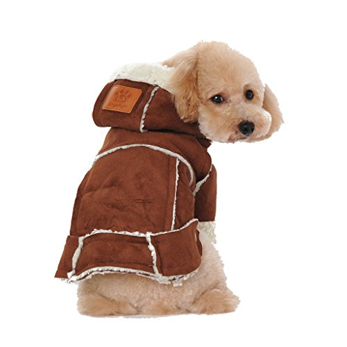 Kailian Dog winter Jacket Puppy Hooded Coat, Dog Apparel,Dog Snowsuit, Faux Shearling Fabric Coat Cotton Clothes Brown-L