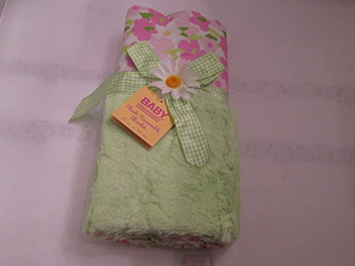 Baby Essentials Plush Reversible Blanket Green and Pink Floral