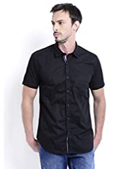 Sting Black Solid Half Sleeve Slim Fit Cotton Casual Shirt For Men