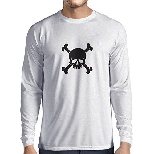 N4059L T-shirt manica lunga da uomo Teschi incrociate segno di avvertimento (Large Bianco Nero)