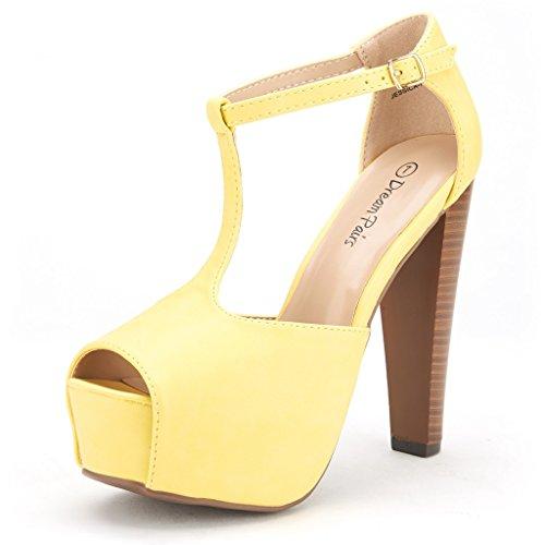DREAM PAIRS JESSICA-P Women's Evening High Heels Peep Toe Ankle T-Strap Platform Casual Pumps Sandals YELLOW-SZ-5
