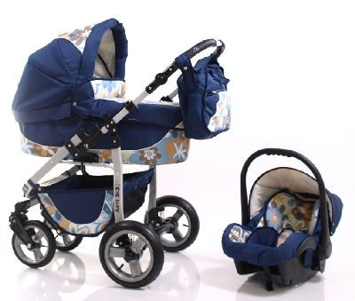 ADBOR Combo Pram ARTE3x3 + Car Seat No.39 dark blue / flower