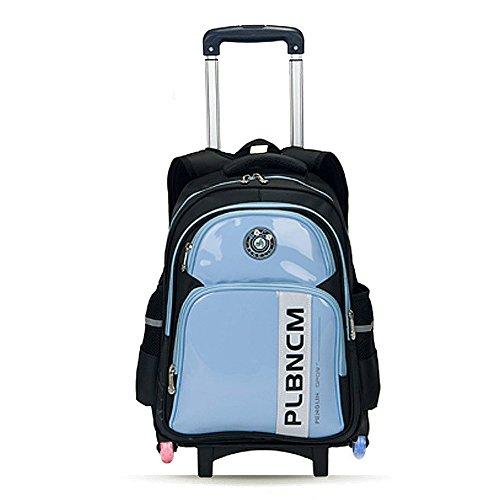 Lovely Lazutom Nylon impermeabile per zaino per la scuola con zaino con rotelle removibili, 3 pulegge Carrello a mano blu