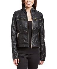 Olivia Miller Women Zip-Up Moto Faux…