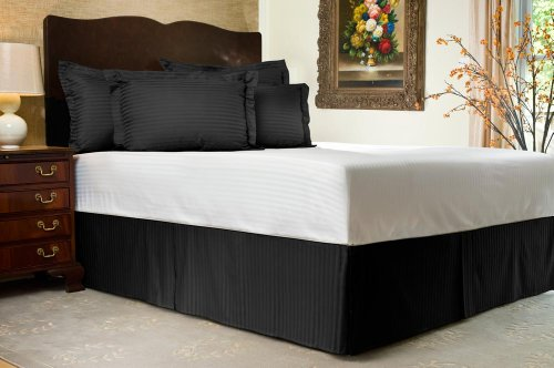 "Black Sateen Stripe Tailored Bed Skirt With 18"" Drop, Full front-848348"