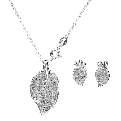 Sterling Silver Crystals Ladies Jewelry Set. Length 13 in. Total Item weight 2.7 g.