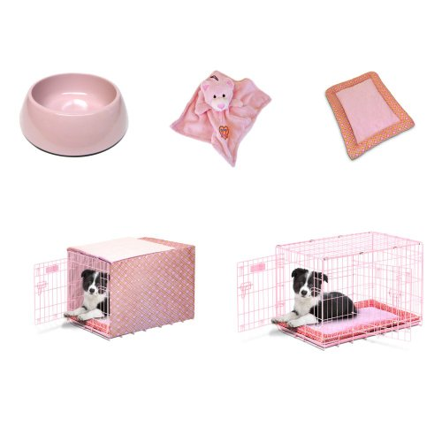 Precision Pet Products Snoozzy Baby 24 In. Crate Starter Kit Prepack With Duvet Cover -, Pink, Wire, 24L X 18W X 19H In. front-1020361