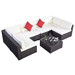 Giantex Outdoor Patio 7PC Furniture Sectional PE Wicker Rattan Sofa Set Deck Couch Brown from Giantex