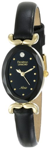 Armitron Women's 753248BKBK NOW Diamond Accented Gold-Tone Black Leather Watch