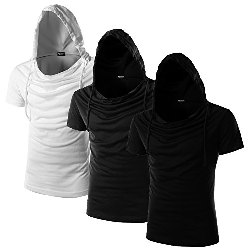 What Lees Unisex Short Sleeve Solid Pullover Hoodie Shirts Three color as a set B025-Three-Black-Grey-White-L