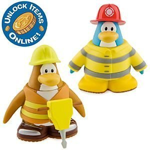 Picture of Jakks Pacific Club Penguin 2 Inch Mix 'N Match Figure Pack - Construction Worker and Firefighter - Series 6 (B003ZOKXCS) (Jakks Pacific Action Figures)