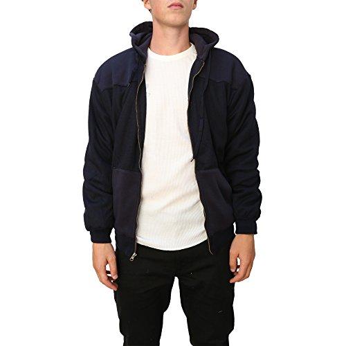 Maxxsel Mens 2 Tone Fleece Thermal Hoodie Jacket (X-Large, Navy) (Hood Fleece Jacket compare prices)