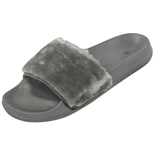 womens-ladies-comfy-faux-fur-trim-rubber-slider-flats-shoes-slides-slippers-size-5