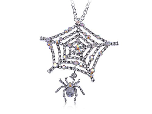SOOZ_SOOZ : Charlotte's Spider Web Iced Out Crystal Clear Rhinestone Custom Pendant Necklace (Spiderweb Rhinestone Necklace)