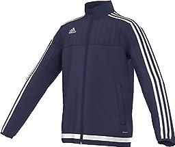 adidas Youth Soccer Tiro 15 Training Jacket, Dark Blue/White/New Navy, Large
