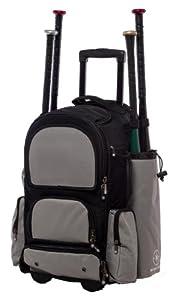 Black and Silver Chita CTR M Softball Baseball Bat Equipment Roller Backpack BKSVCTRM by MAXOPS