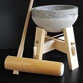 餅つき臼 御影石鉢型 2升用 専用木台 杵 Mサイズセット (もちつき道具)