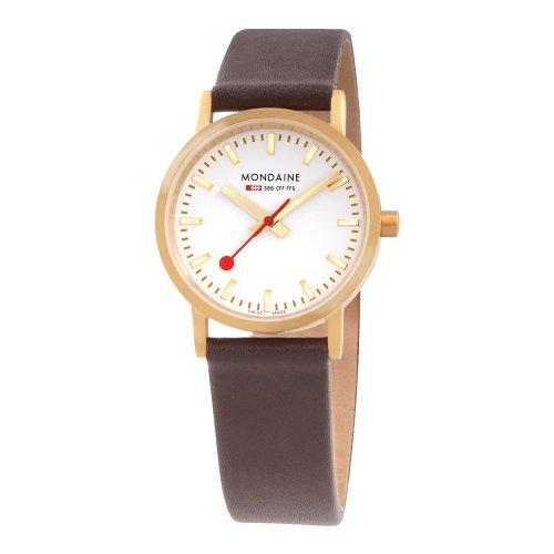 Mondaine Swiss Watch A6583032326SBG - Reloj analógico para mujer, correa de cuero color marrón
