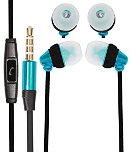 Premium 3.5mm In Ear Bud Handsfree Headset Earphones With Mic Compatible For Sony Xperia ZL2 -Cyan