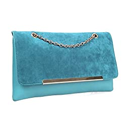 BMC Fashionably Chic Egyptian Turquoise Faux Suede Leather Gold Metal Chain Large Envelope Clutch Handbag