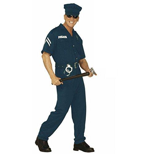 n 44253 - Erwachsenenkostüm Polizist Overall Gürtel und Hut, Größe L