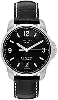 Certina DS Podium Genuine Black Leather Mens Automatic Watch