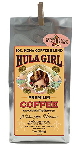 Hula Girl 10% Kona Coffee Blend Chocolate Macadamia Nut