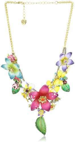 "Betsey Johnson ""Hawaii Luau"" Multi-Flower Cluster Frontal Statement Necklace"
